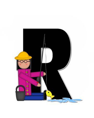 """seau d eau: La lettre R, dans l'ensemble de l'alphabet """"Pêche Enfants Gone,"""" est noir décrit avec le blanc. Les enfants, canne et moulinet, seau, eau et lettre de décorer des poissons."""