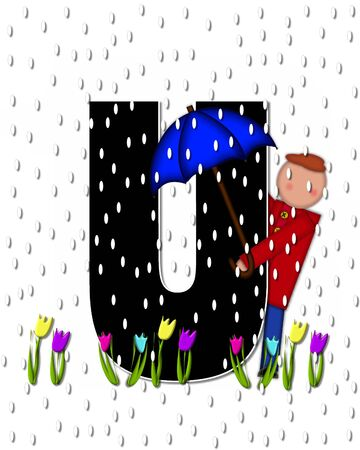 rain drops: The letter U, in the alphabet set Children April Showers is black and trimmed with white.  Child holds unbrella while rain drops fall on her and Spring tulips. Stock Photo