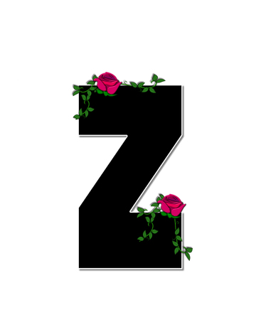 spread around: The letter Z, in the alphabet set Rose Trellis, is black with white outline.  Roses and vines grow and spread around letter. Stock Photo