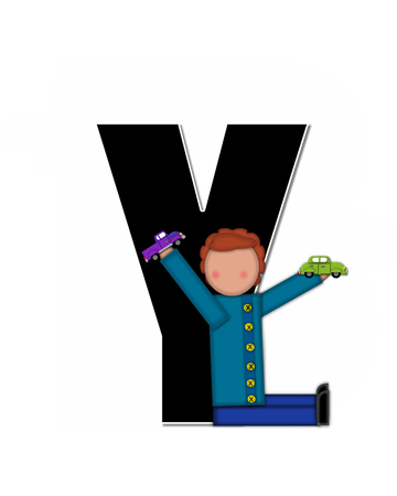 reflects: The letter Y, in the alphabet set Children Play Time, is decorated a child holding toys that reflects the many things from childhood, including, yoyo, trucks, cars, dolls, sports equipment and stuffed toys.