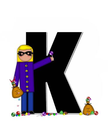 wears: The letter K, in the alphabet set Children Trick or Treat is decorated a child holding a bag of trick or treat candy.  Candy sits at childs feet and child wears a black, Halloween mask.