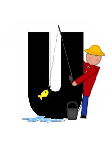 """seau d eau: La lettre U, dans l'ensemble de l'alphabet """"Pêche Enfants Gone,"""" est noir décrit avec le blanc. Les enfants, canne et moulinet, seau, eau et lettre de décorer des poissons."""
