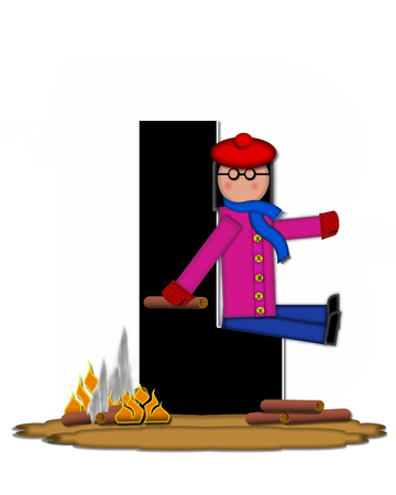 camp fire: The letter L, in the alphabet set Children Camp Fire is black and outlined with white.  Children, are dressed in cap, scarf and mittens and at their feet is a camp fire. Stock Photo