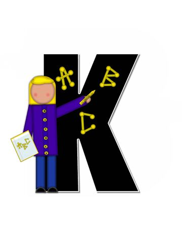 The letter K, in alphabet set Children ABCs is black.  Letters are decorated with colorful ABCs.  Child holds crayon and homework paper with the letters ABC on it.