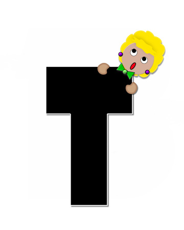peek: The letter T, in the alphabet set Childlike Expressions, is black and outlined with white.  Children peek around edges of letters with a collection of different smiles and expressions.