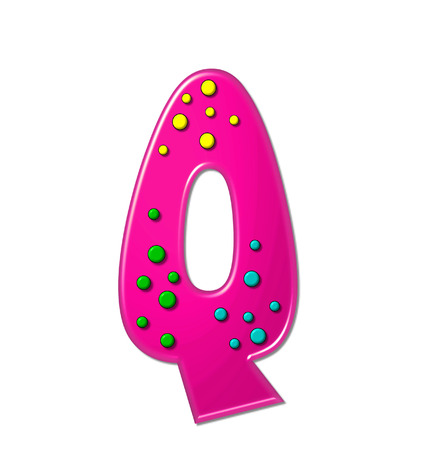 hot pink: The letter Q, in the alphabet set Polka Dot Party, is hot pink.   3D multi-colored dots decorate letter. Stock Photo