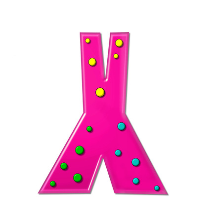hot pink: The letter X, in the alphabet set Polka Dot Party, is hot pink.   3D multi-colored dots decorate letter.