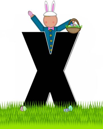 tall grass: The letter X, in the alphabet set Children Easter Eggs is black and trimmed with white.  Child with basket hunts for Easter eggs in the tall grass.