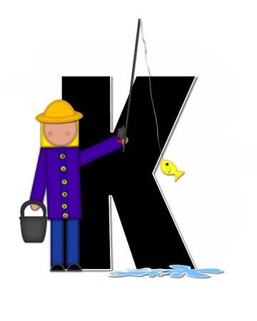 The letter K, in the alphabet set Children Gone Fishing, is black outlined with white.  Children, rod and reel, bucket, water and fish decorate letter.