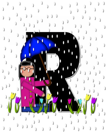 showers: The letter R, in the alphabet set Children April Showers is black and trimmed with white.  Child holds unbrella while rain drops fall on her and Spring tulips. Stock Photo