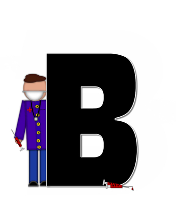 The letter B, in alphabet set Children Healthcare is black.  Letters are decorated with Physician, perscription and medical equipment such as thermometer, stethoscope, and blood pressure cuff.