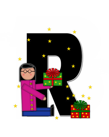 child holding sign: The letter R, in the alphabet set Children Christmas Gift is black and trimmed with white. Child holds Gift and is surrounded by golden stars. Stock Photo