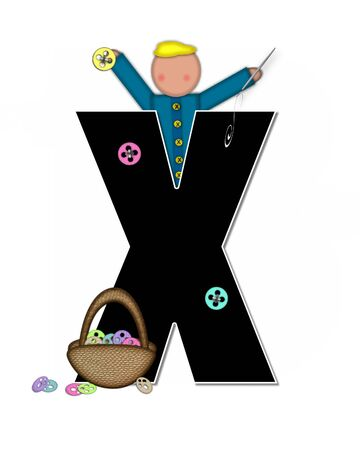 The letter X, in the alphabet set Children Sewing is black and trimmed with white. Child holds button and needle.  A basket full of buttons sits besides letter. Stock Photo