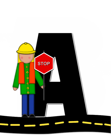 highway signs: The letter A, in the alphabet set Children Highway Construction, is black and outlined with white.  Child stands or sits on highway holding highway construction signs. Stock Photo