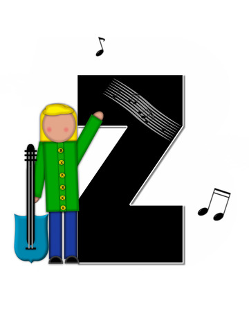 scores: The letter Z, in the alphabet set Children Music is black and outlined with white.  Child is surrounded by musical notes.  Alphabet set includes guitars and musical scores.