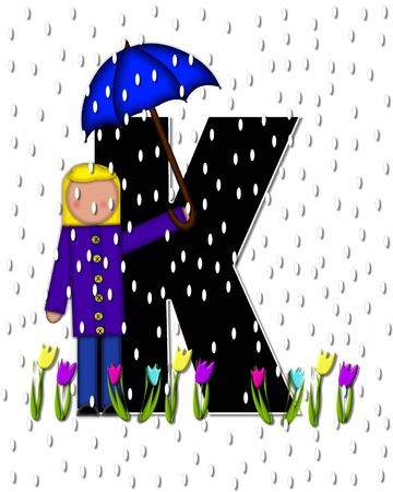 The letter K, in the alphabet set Children April Showers is black and trimmed with white.  Child holds unbrella while rain drops fall on her and Spring tulips.