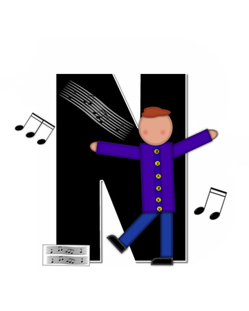 scores: The letter N, in the alphabet set Children Music is black and outlined with white.  Child is surrounded by musical notes.  Alphabet set includes guitars and musical scores.