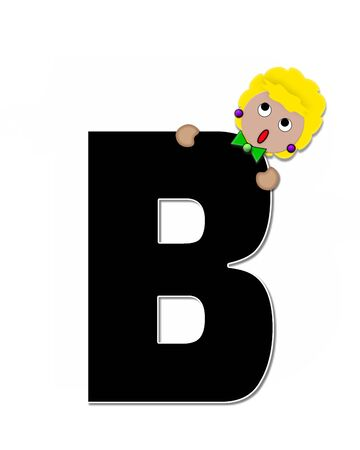 peek: The letter B, in the alphabet set Childlike Expressions, is black and outlined with white.  Children peek around edges of letters with a collection of different smiles and expressions.