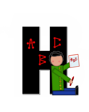 The letter H, in alphabet set Children ABCs is black.  Letters are decorated with colorful ABCs.  Child holds crayon and homework paper with the letters ABC on it.