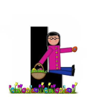 l boy: The letter L, in the alphabet set Children Easter Egg Hunt is black and trimmed with white.  Child holds basket filled with Easter eggs found in the grass amid the tulips. Stock Photo