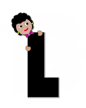 peek: The letter L, in the alphabet set Childlike Expressions, is black and outlined with white.  Children peek around edges of letters with a collection of different smiles and expressions. Stock Photo