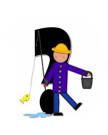 """seau d eau: Question mark, dans l'ensemble de l'alphabet """"Pêche Enfants Gone,"""" est noir décrit avec le blanc. Les enfants, canne et moulinet, seau, eau et lettre de décorer des poissons."""