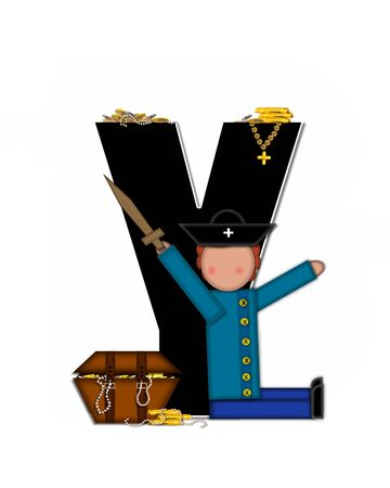 scrap gold: The letter Y, in the alphabet set Children Pirates, is black outlined with white.  Children play pirates with wooden sword, treasure chest, gold and pearls.