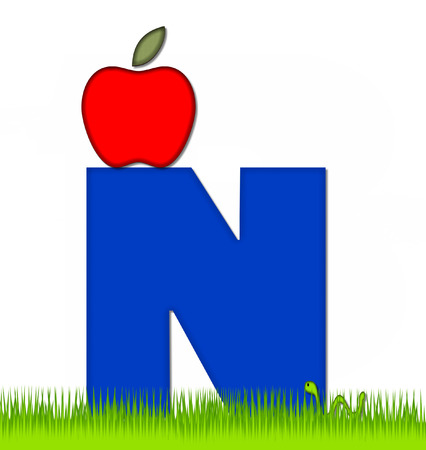 eaten: The letter N, in the alphabet set Apple a Day Eaten Away, is blue.  Letter is sitting on green grass.  A green worm crawls around letter.