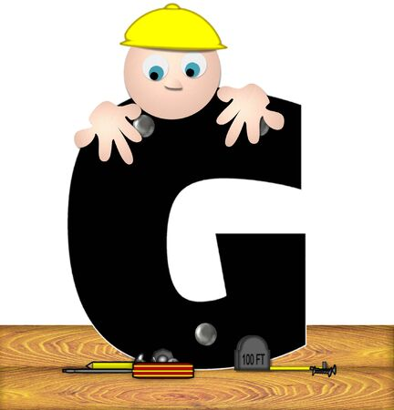 bends: The letter G, in the alphabet set Construction Worker, is black with silver nails embedded in letter.  Construction worker bends over inspecting letter.  Tools sit beside letter on wooden planks. Stock Photo