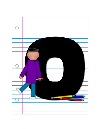 coordinates: The letter O, in the alphabet set Start of School Two, is black.  Letter is sitting on a blank piece of notebook paper and is decorated with pencils and student.  This set coordinates with Alphabt Start of School.