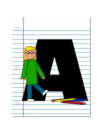notebook paper: The letter A, in the alphabet set Start of School Two, is black.  Letter is sitting on a blank piece of notebook paper and is decorated with pencils and student.  This set coordinates with Alphabt Start of School.