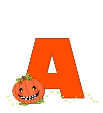 The letter A, in the alphabet set Pumpkin Head, is bright orange. Letter is decorated with smiling, toothy pumpkins and green polka dots. Stock Photo
