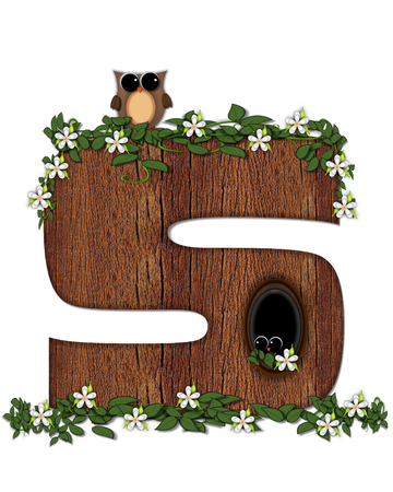 The letter S, in the alphabet set Log Home is filled with wod texture.  Flower bloom on vines hanging on letter.  One owl hides in knothole and the other outside the stump home.