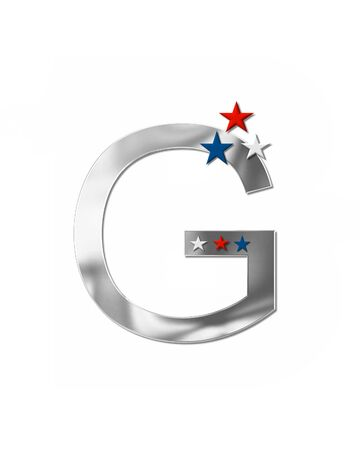 coordinate: The letter G, in the alphabet set Plain Patriotism is silver metalic.  Three stars decorate letter with red, white and blue.  Letters coordinate with Alphabet Patriotism. Stock Photo