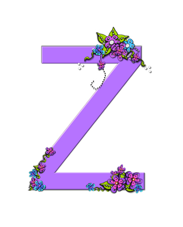 The soft, lilac letter Z, in the alphabet set Burst of Spring Lilac is decorated with bouquets of 3D flowers, with dots in white and black and vines of green. Imagens