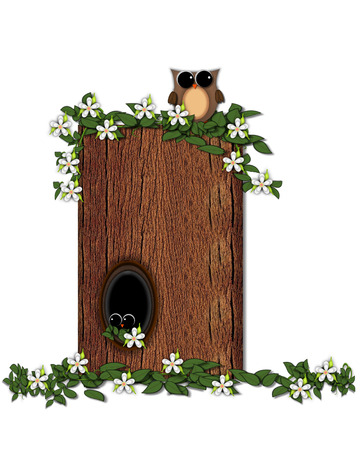 The letter I, in the alphabet set Log Home is filled with wod texture.  Flower bloom on vines hanging on letter.  One owl hides in knothole and the other outside the stump home. Stock Photo