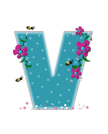 buzz: The letter V, in the alphabet set Garden Buzz, is aqua.  Each letter is decorated with soft polka dots, flowers and buzzing bees.  Base of letter is covered in pink and white confetti.