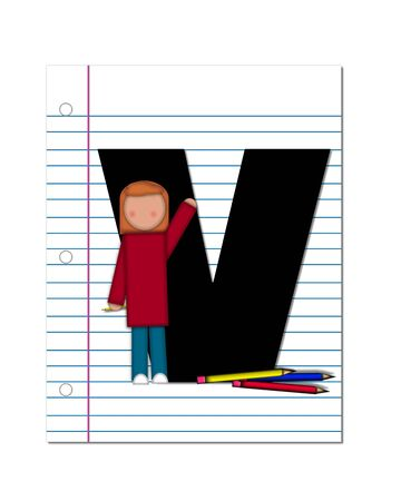 assignments: The letter V, in the alphabet set Start of School Two, is black.  Letter is sitting on a blank piece of notebook paper and is decorated with pencils and student.  This set coordinates with Alphabt Start of School.