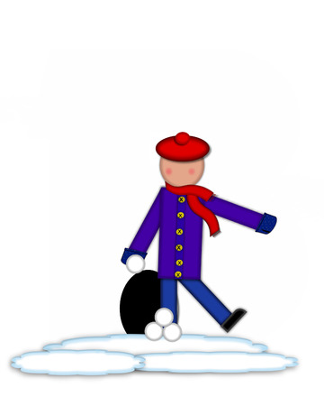 snow cap: Period, in the alphabet set Children Snow Fight, is black and outlined with white.  Children, dressed in cap, scarf and mittens, hold snowball ready for a fight.