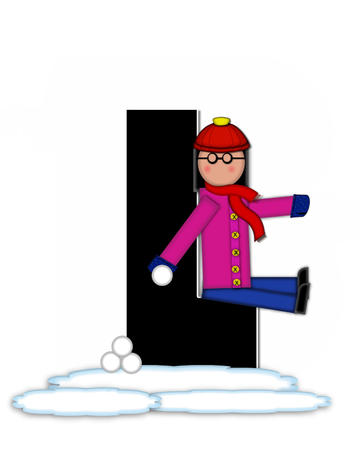 l boy: The letter L, in the alphabet set Children Snow Fight, is black and outlined with white.  Children, dressed in cap, scarf and mittens, hold snowball ready for a fight.