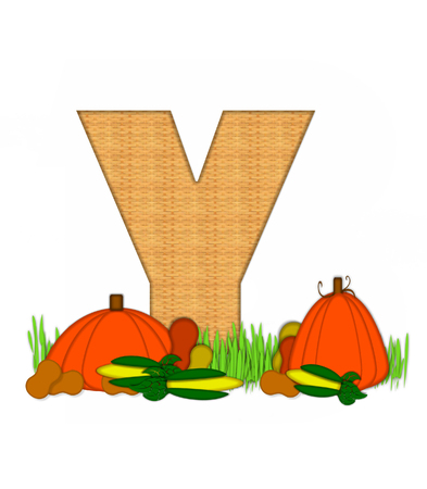 bounty: The letter Y, in the alphabet set Blessed Bounty, is filled with wicker texture.  Letter sits in grassy field surrounded by Fall vegetables.