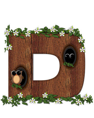 The letter D, in the alphabet set Log Home is filled with wod texture.  Flower bloom on vines hanging on letter.  One owl hides in knothole and the other outside the stump home.