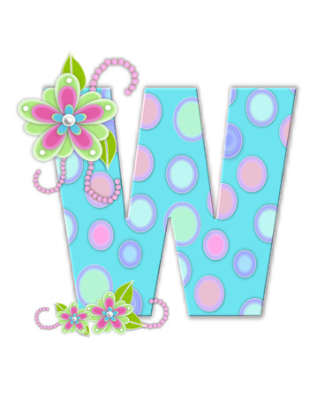 softly: The letter W, in the alphabet set Softly Spotted, is soft aqua.  Letter is decorated with pastel circles, flowers and beads.