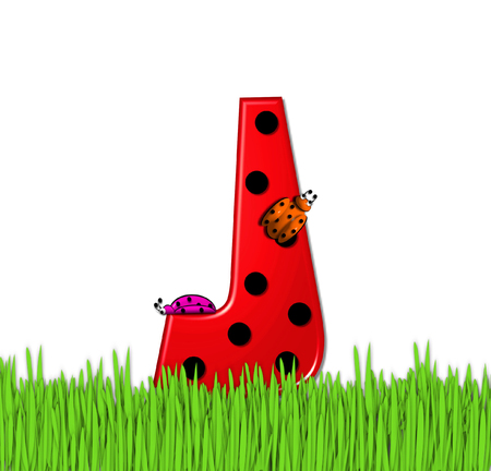 tall grass: The red letter J, in the alphabet set Lady Bug Red, has large black polka dots and is decorated with 3D ladybugs.  Letter is nestled in tall, garden grass. Stock Photo