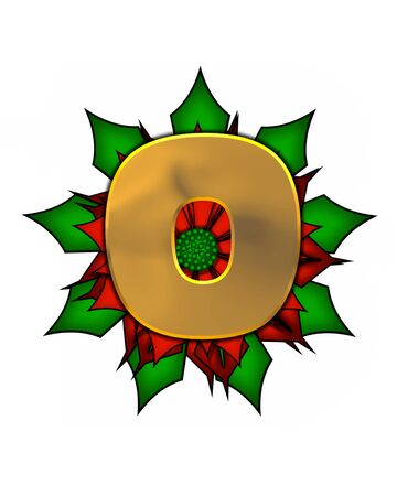 The letter O, in the alphabet set Christmas Poinsettia is shiny gold metallic.  Letter sits on a large red, poinsettia.