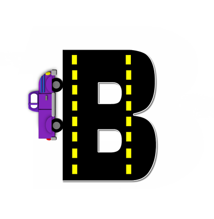 motorized: The letter B, in the alphabet set Transportation by Road, is black with yellow dividing line representing a black top road.  Colorful, motorized vehicle navigates outside of letter. Stock Photo
