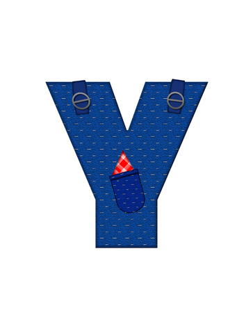 handkerchief: The letter Y, in the alphabet set Farmer Brown, is denim with straps and pockets.  Checkered handkerchief peeks out of pocket.