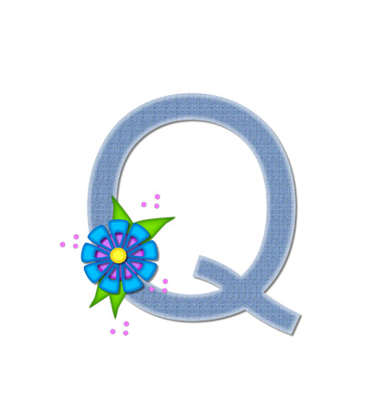 dandy: The letter Q, in the alphabet set Denim Dandy, is filled with light blue denim.  Letter is decorated with bright colored flower with polka dots. Stock Photo