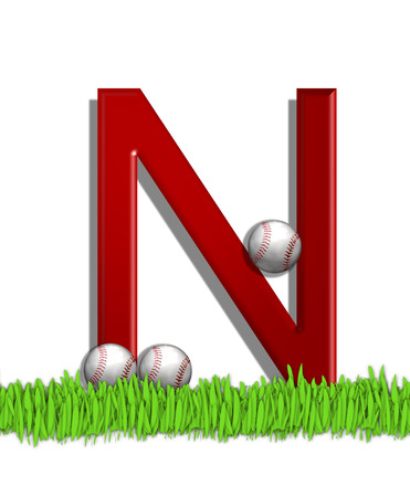 The letter N, in the alphabet set Baseball, is red.  Three baseballs decorate 3D letter.  All sit in a field of green grass.