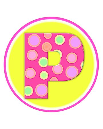The letter P, in the alphabet set Circle Party is decorated with polka dots in pink, green and orange.  Letter sits on a two color circle of yellow and pink.